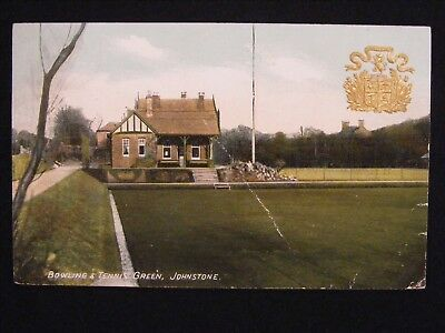 1907 Bowling & Tennis Green Johnstone Renfrewshire Postcard Embossed Coat Arms
