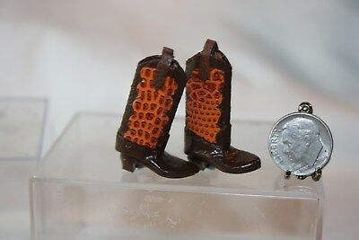 Miniature Dollhouse Artisan Well Made Faux Alligator Cowboy Boots 1:12 NR