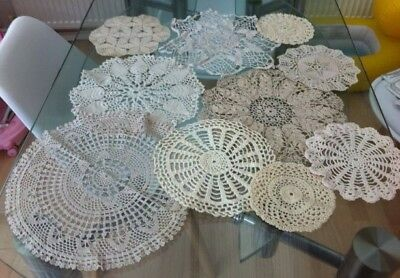 Job Lot Of 10 Vintage Hand Crocheted Cotton Lace Doilies / Table Mats