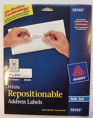 "AVERY 58160 - Repositionable INK JET - 600 1"" x 2 5/8"" labels - 20 sheets"