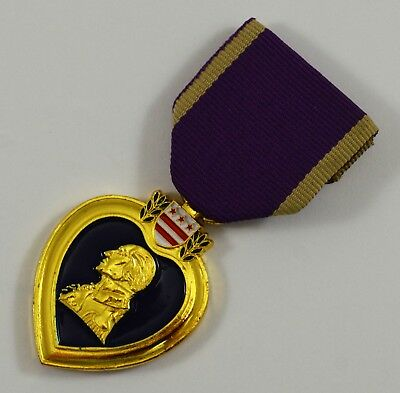 24ct Gold Plated Replica Purple Heart Military Merit Service Medal. USA/WW1/WW2