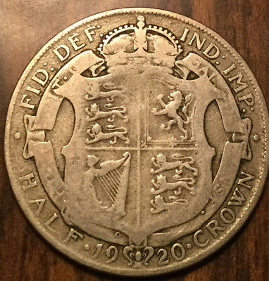 1920 Uk Gb Great Britain .500 Silver Half Crown