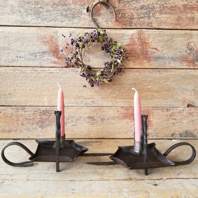 Handsome Antique PRIMITIVE Hand Wrought IRON 3-Way GIMBAL Candleholders A PAIR