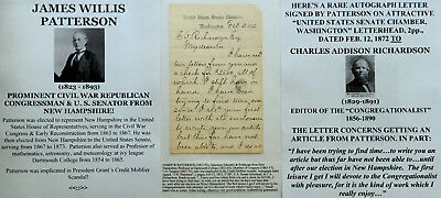 Civil War Congressman President Grantscandal Senator New Hampshire Letter Signed