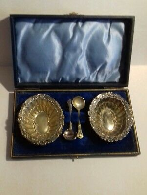 Vintage/ Antique Salts With Spoons In Fitted Box