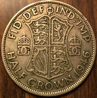 1946 Uk Gb Great Britain .500 Silver Half Crown