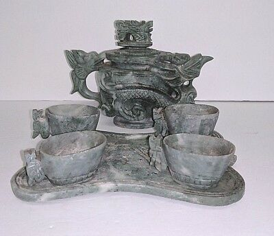 Vintage Small Green Carved Dragon Tea Sake Set Teapot 4 Cups & Tray Asian UNIQUE