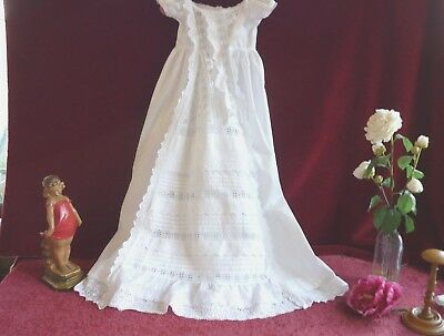 Antique Baby/Doll Gown Broderie Anglaise Ruffles GC.