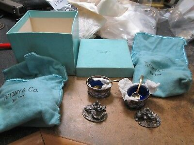 RARE Tiffany & Co. Sterling Silver FIGURAL PAIR SALT DIPS FLORAL ORIGIN BOX BAGS