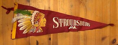 Stroudsburg PA Pennant Indian Chief Real Feathers Vintage Poconos Mountains