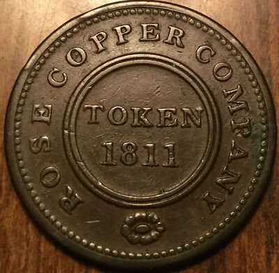 1811 Uk Gb Great Britain Birmingham Rose Copper Company Halfpenny Token