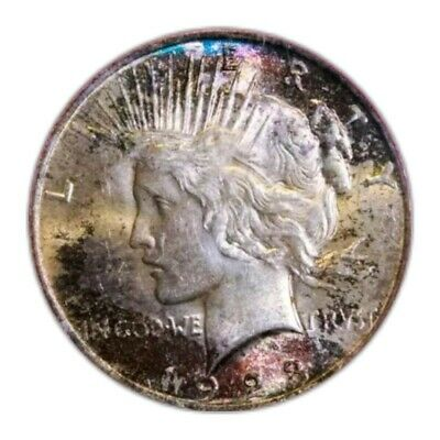 1923  Peace Silver Dollar Coin MS62 * RARE FOUND TONED *. 215