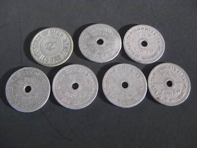 7 Vintage Tax Tokens, State of Washington & State of Utah