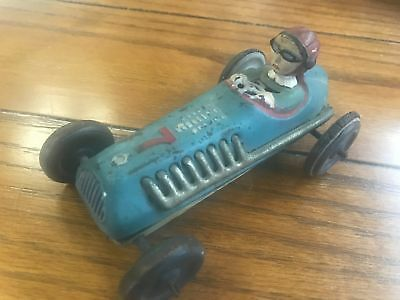 """Rare!! Antique Tin Wind Up Blue & Red Race Car # 7 - 5"""""""