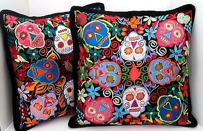 Oaxaca Embroidered Pillow Covers Day of the Dead Sugar Skulls Set (2) LG 18x18""