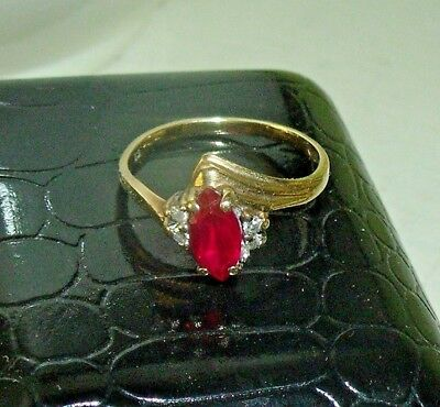 VINTAGE Size 5 RUBY & DIAMOND RING 10 KT Yellow GOLD MARQUIS Shape Stone
