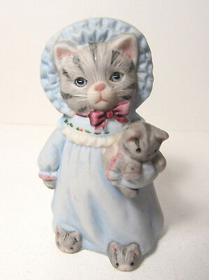 Kitty Cucumber ~ Nightgown with Cat Doll & Slippers ~ Porcelain Figurine