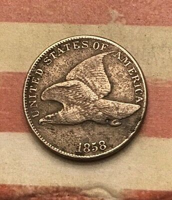 1858 1C Flying Eagle Penny Cent Vintage US Copper Coin #UN135 Very Sharp Appeal