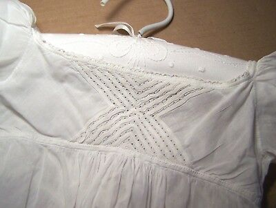 Antique Georgian long white cotton Christening gown 1830