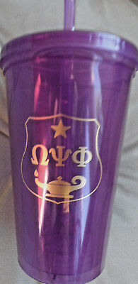 Omega Psi Phi 16oz: 2 PACK:Double Wall Plastic Tumbler w/ Straw: Purple & Gold: