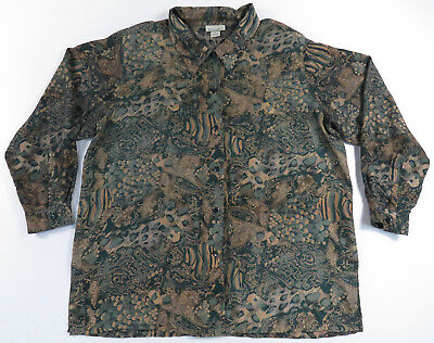 Abstract Paisley Feather L/s Button Up Shirt Nu Wave Art Jazz Vintage 18/20