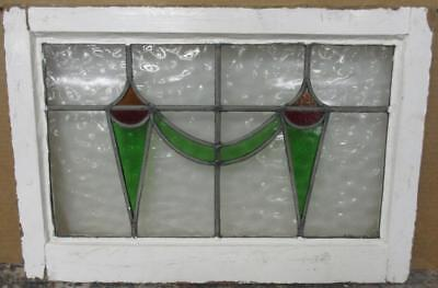 "MID SIZED OLD ENGLISH LEADED STAINED GLASS WINDOW Pretty Swag 23.75"" x 16.25"""