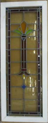 "VICTORIAN ENGLISH LEADED STAINED GLASS WINDOW Colorful Pillar 16.25"" x 41.75"""