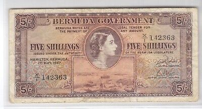 BERMUDA 5 SHILLINGS  NOTE 1957  P#18b QE2  F-VF WITH FREE U.S. SHIPPING