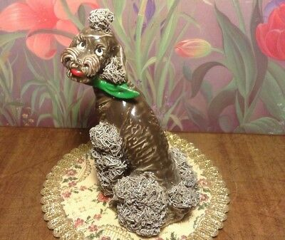 "Vintage Chocolate Brown Spaghetti Poodle Green Bow Porcelain Dog Figurine 5.5""H"