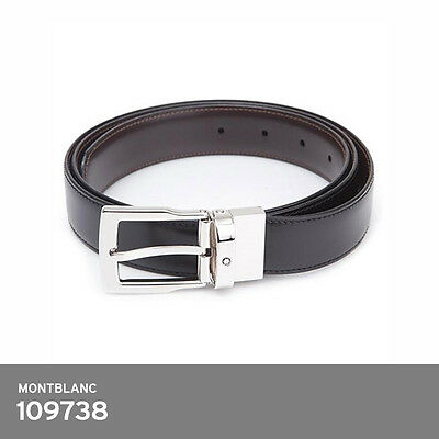 Montblanc 109738 Classic Line Reversible Belt Black Brown Leather FedEx or EMS