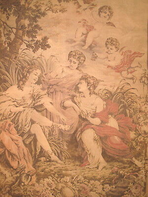 "HUGE 6' x 53"" ANTIQUE FRENCH ROMANTIC TAPESTRY ~ WOMEN, CHERUBS, ANGELS, PUTI"