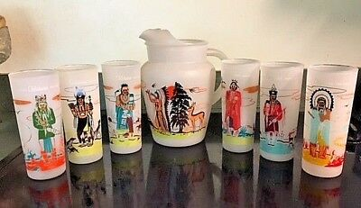 Nice Vintage 1950's Acee Eagle Knox Giveaway Oklahoma Indians Pitcher And Glass
