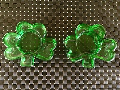 Pair Of Glass Shamrock Tea Light Votives