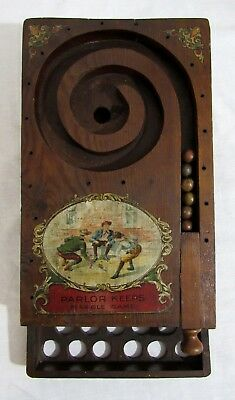 Antique 1909 PARLOR KEEPS Early Wooden Pinball Machine Clay MARBLE GAME Toy RARE