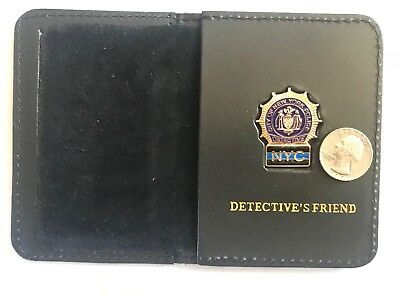 NYC Detective Friend Thin Blue Line  Mini Shield  Leather Wallet ID