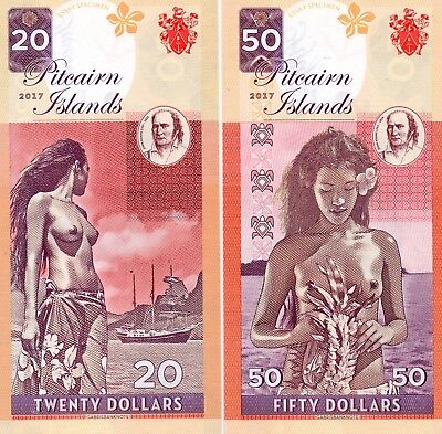 PITCAIRN ISLANDS $50 & $20 2017 Nude Matching Serial x 2 FANTASY Banknote Set