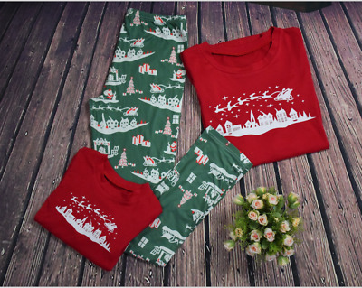 US STOCK Family Matching Christmas Pajamas Set Women Baby Sleepwear Nightwear