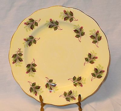 Royal Standard Yellow/Gold Trim Rose Sprays Fine Bone China Plate Scalloped-8""