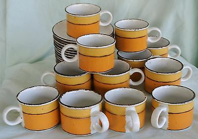 3 Midwinter Stonehenge Sun Flat Cups/Mugs/Saucers + Extra Plate-England