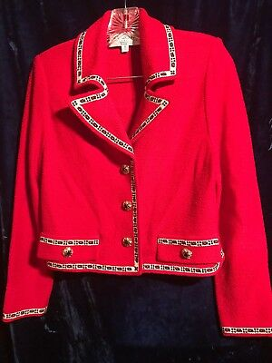 St John's Knit COLLECTION JACKET & SKIRT SUIT~Red*Black Blazer~size 4 Marie Grey
