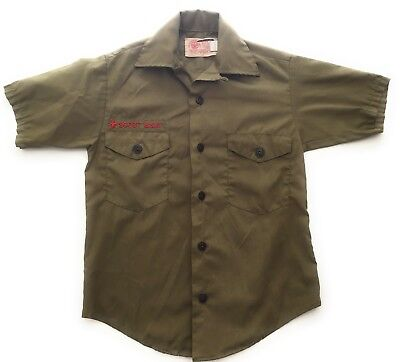 Vintage Boy Scout Uniform Shirt Short Sleeve Size Small Olive Green BSA 1960s
