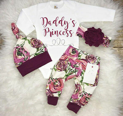 Lovely Newborn Baby Girls Flower Romper Pants Leggings Hat Outfits Clothes Set