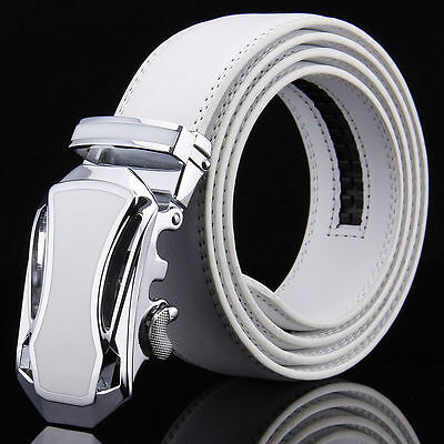 Mens White Leather Belt Waistband Strap Automatic Buckle For Wedding Golf Casual