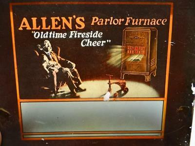 """Vintage Movie Theater Glass Ad Slide  Allen's Parlor Furnace 4"""" X 3.25"""" Tray6"""