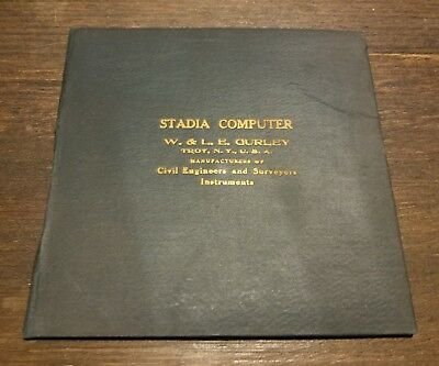 ANTIQUE 1899 STADIA COMPUTER Circular Slide Rule ENGINEER W & L.E GURLEY TROY NY