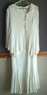 Cream Lace -Dress & Jacket-Wedding-Formal Occasion Size 18- S.L. Fashion Used 1