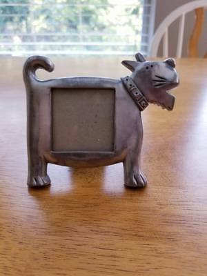 """Ashleigh Home Pewter Dog Frame; for a Picture 1.25"""" x 1.25""""; Made in Taiwan"""
