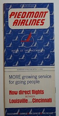 Piedmont Airlines 1968 Timetable  -  4-1-68