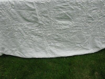 Magnificent Antique French Linen Tablecloth Sheet Ornate Bourdon Embroid Mono Gb