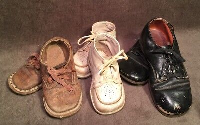 3 Antique Vintage Pairs of Children/Toddler Shoes Black Brown White